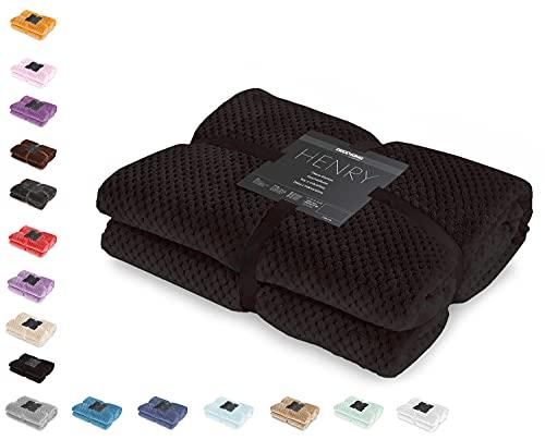 DecoKing Kuscheldecke 150x200 cm schwarz Decke Microfaser Wohndecke Tagesdecke Fleece weich sanft kuschelig skandinavischer Stil Henry