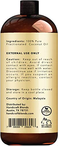 Fractionated Coconut Oil - 100% Pure & Natural Premium Therapeutic Grade - Coconut Carrier Oil for Aromatherapy, Massage, Moisturizing Skin & Hair - Huge 16 OZ