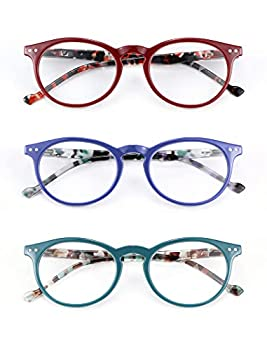 MDee Reading Glasses 3 Pack Women Classic Round Readers Glasses Ladies Lightweight with Flexible Spring Hinges 2.5