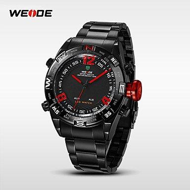 Fashion Watches Schöne Uhren, Weide® Herren-Analog-Digital geführte Uhr Japan Edelstahluhr Mov't (Farbe : Silver/Black, Großauswahl : Einheitsgröße)