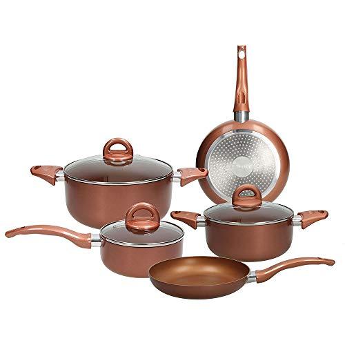 Tognana Copper & Charcoal Batteria di pentole 8 Pezzi, Alluminio