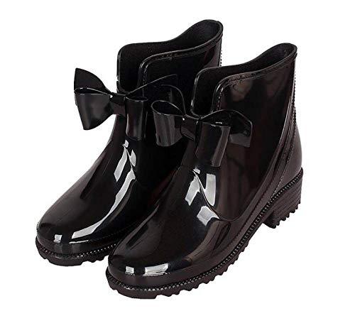 YUXUEKING regenlaarzen, waterdicht massief rubber hak enkellaars,Fashion Women'S Pvc zwarte vlinder knoop regenlaarzen, anti-slip slijtvaste waterschoenen
