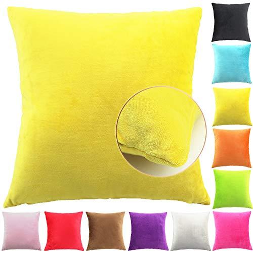 Easondea Fundas de Cojín de Color sólido Square Decorativos para Sofá Cama Coche Fundas Cojines Funda de Almohada Amarillo 50X50CM