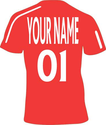 L Red Customisable Personalised Football Shirt Childrens Name Wall Art Decal Vinyl Stickers for Boys/Girls Bedroom 80x96cm