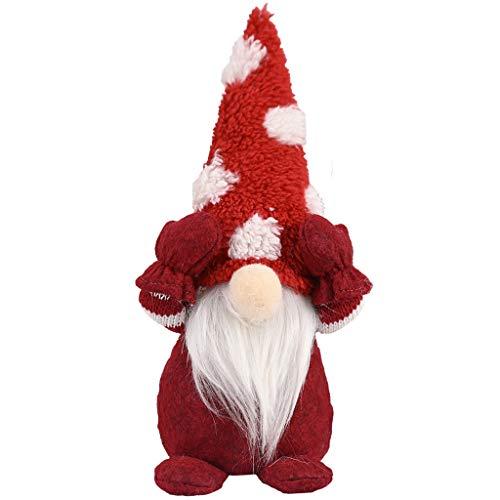Weihnachtsgeschenk Wichtel Figuren Nordische Schwedische Nisse Weihnachten Santa Plüsch Handarbeit Skandinavischen Elf Zwerg Hause Herbst Haushalt Ornamente Santa Dolls (Rot)