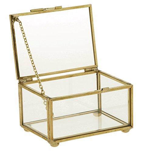 Sharplace Caja Envase Geométrico Terrario Envase Claro de Cristal para Joya Deoración de Mesa - 10 x 7 x 6 cm