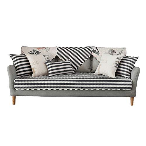 EVFIT Funda de sofá de algodón con estampado acolchado para sofá de cuatro estaciones de tela antideslizante para sofá o toalla (color: negro, tamaño: 110 x 210 cm)
