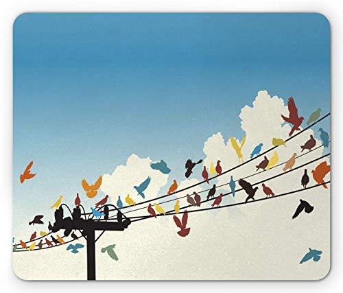 Alfombrilla de ratón de colores, siluetas con temas de animales de pájaros de colores posados en un patrón de cables de telégrafo, alfombrilla de ratón de goma antideslizante rectangular, ta
