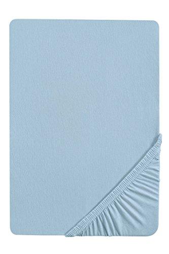 biberna 0077144 Feinjersey Spannbetttuch (Matratzenhöhe max. 22 cm) (Baumwolle) 90x190 cm -> 100x200 cm, blau
