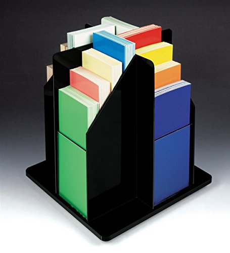 Spinning Literature Rack, Countertop Use, 16 Pockets, 4x9 Pamphlets (Black/Clear Acrylic)