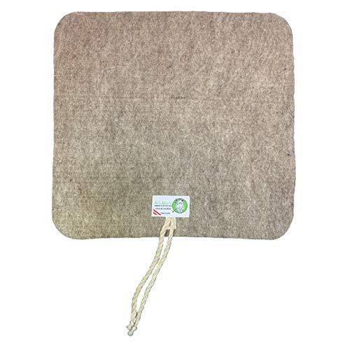 ALS World Alpaka Sitzunterlage für Jäger oder für Outdoor und Heim. Hochwertige Alpakawolle. 100% natur und nachhaltig produziert. Direkt vom Hersteller. 37 cm x 37 cm