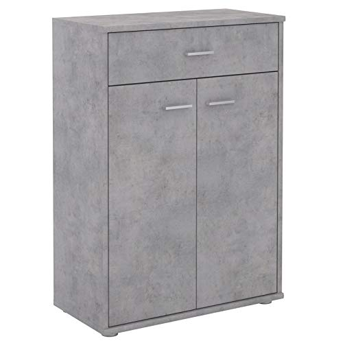 CARO-Möbel Kommode Sideboard Schrank Tommy Betonoptik, Anrichte Highboard mit Schublade und 2 Türen