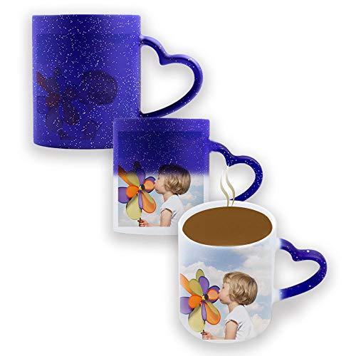 Benutzerdefinierte Foto-Kaffeetassen, mit Bild, Text, Name auf Kaffeetassen, personalisierte Geschenke, benutzerdefinierte Tasse, große Foto-Geschenke für Mama, Papa und Büro, Weihnachten (Blau)