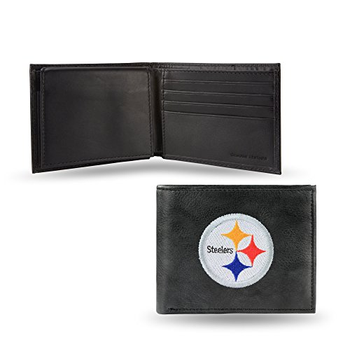 NFL Rico Industries Embroidered Leather Billfold Wallet, Pittsburgh Steelers, 3.25 x 4.25-inches