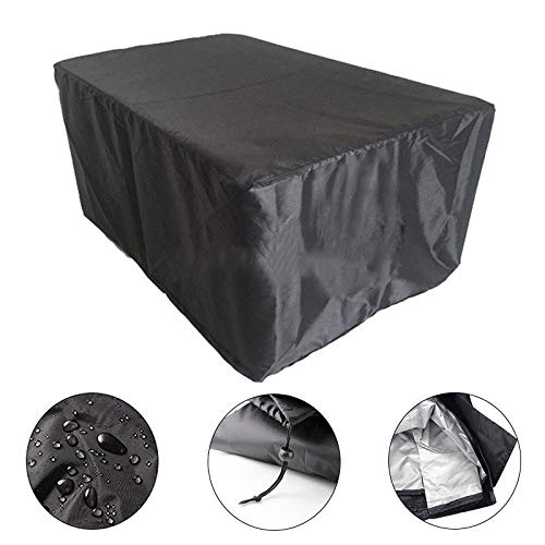 BASA Tuinmeubelhoes, tuintafel meubelhoes winddicht, stofdicht en waterdicht om tuinmeubelen te beschermen (buiten zwart in zilver) 315*180*74CM