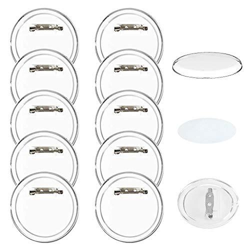 FOGAWA 30 pcs Buttons Selber Machen ohne Buttonmaschine 60mm Button Pins Anstecker Schulkinder Transparente DIY Ansteckbuttons mit Sicherheitsnadel und Buttonpapier für Oktoberfest Schule