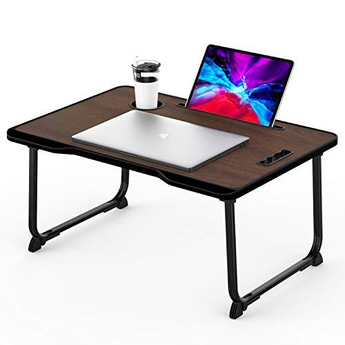 KELOFO Mesa para Ordenador Portátil, Portátil Mesa Cama Plegable Mesa Escritorio Plegable con Portavasos/Soporte para Tableta/Manija (60 * 42 cm, marrón)