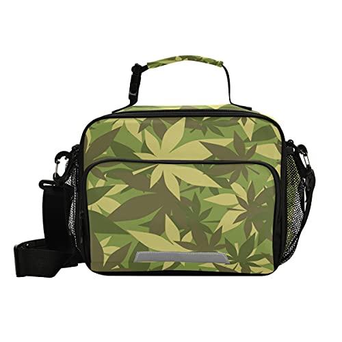 Bolsa de almuerzo militar con aislamiento de marihuana con correa ajustable para el hombro, loncheras para picnic y nevera para niños y niñas
