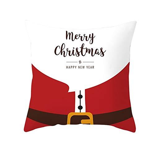 MF.CHAMA Almohada Cojin, Polister Fundas De Navidad Cojines para El Hogar, Blanco Rojo (Style 6-50x50cm)