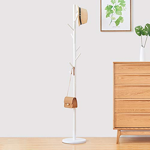 WALTSOM Coat Racks Free Standing Wooden Coat Hat Tree with 8 Hooks and Solid Round Base Hallway Entryway Coat Hanger Hook Stand for Clothes Scarves Handbags NO Tools Required White