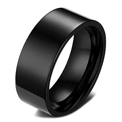BOBIJOO JEWELRY - el Anillo de la Alianza Anillo de Boda Hombre 8mm de Acero Inoxidable 316L de Titanio Negro