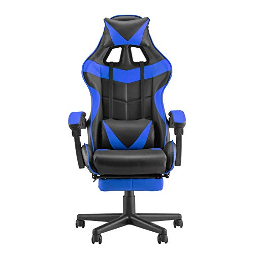 Soontrans PC Gaming Chair,Racing Chair for Gaming,Computer Chair,E-Sports Chair,Ergonomic Office Chair with Retractable Footrest and Adjustable Headrest and Lumbar Support(Storm Blue)