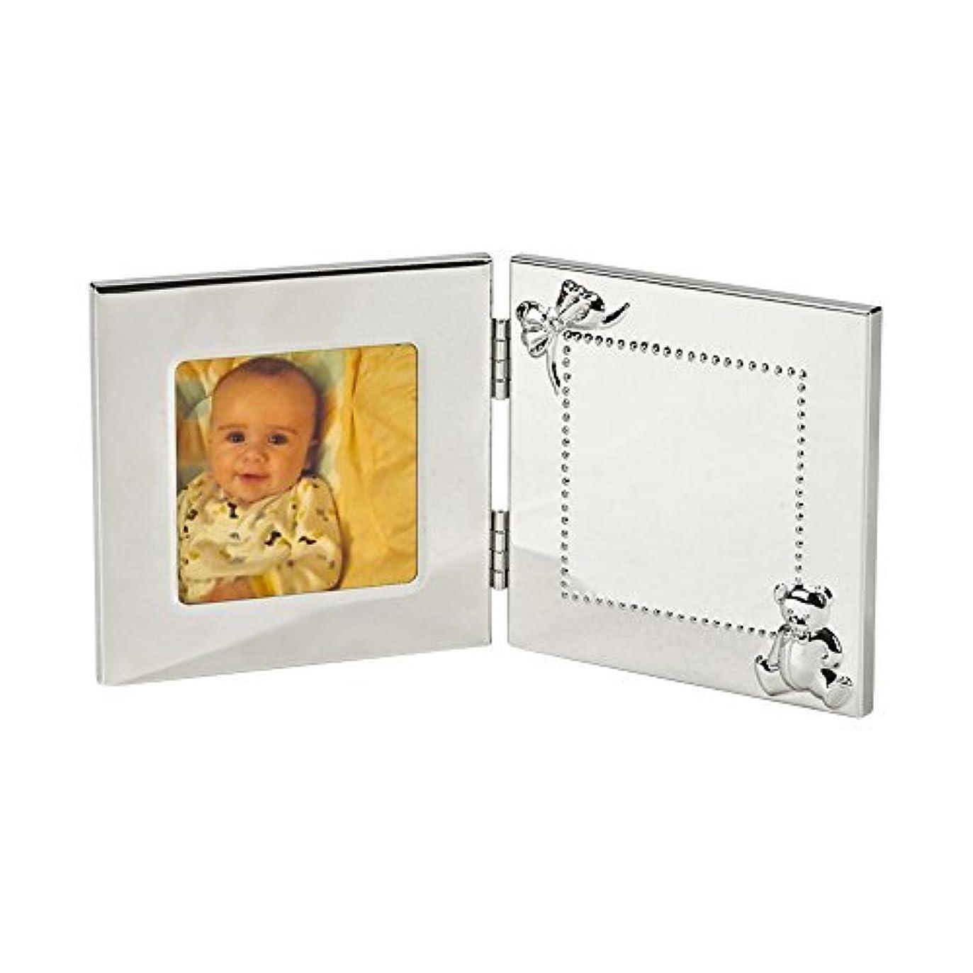 アヒル銀公然とA special silverplate hinged baby frame with engraveable plate - 3.5x5 [並行輸入品]
