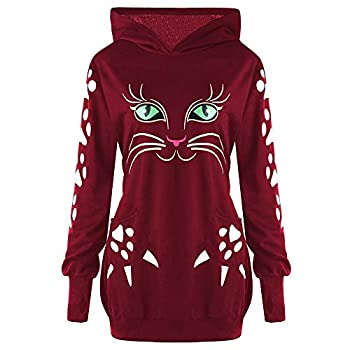 Clearance Womens Plus Size Sweatshirt Cute Cat Print Hoodie Blouse With Ears Hooded Pullover Tops Wine Red,XXXXXL