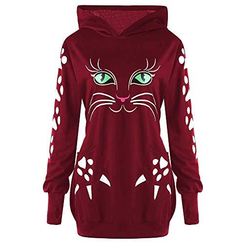 Damen Sweatshirt Katze Drucken Kapuzenpullover Mit Ohren Mit Kapuze Zur Seite Fahren Oberteile Bluse