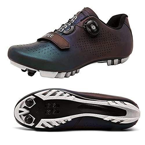 ZHBW Zapatillas De Ciclismo MTB para Hombre Bicicleta Mujer Pedales Planos Compatibles SPD-SL Exterior Y Montaña (Color : Black, Shoe Size : 42 EU)