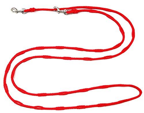 Joggingleine Hundeleine für kleine / mitterle / große Hunde Fahrradleine / Walkingleine / Übungsleine / Trainingsleine / Fürhleine / Freihandleine (2,40 m, Rot 6mm für kleine Hunde)