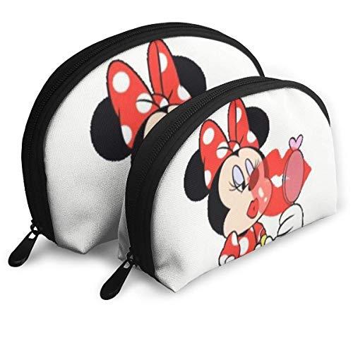 Schminke Minnie Mouse Schminktasche Reisetaschen Kleine Muscheltasche Tragbare Toilettenartikel Clutch Pouch 2St