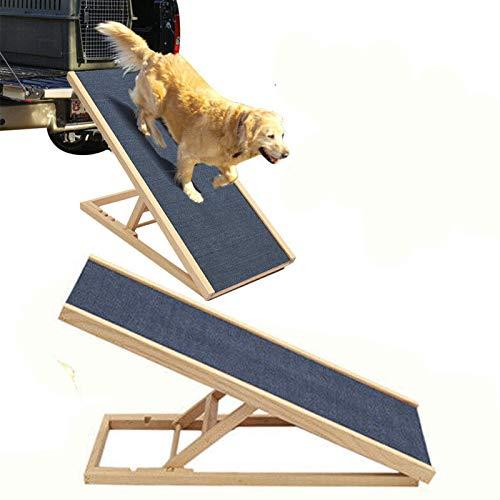 70cm Lang Hölzerne Hundetreppe Hunderampe für Auto Höhenverstellbar Hunderampe Für Auto Für Großen Hund Haustier Rampe, Anti-rutsch