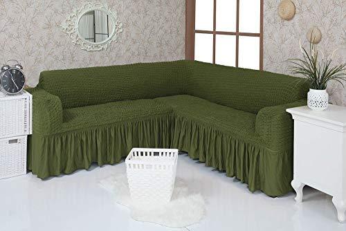 Mixibaby Eck Sofabezug Sofahusse Sesselbezug Sitzbezug Sesselüberwurf Stretchhusse Sofahusse, Farbe:tannengrün