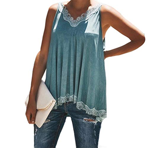 Ai.Moichien Mujeres Strappy Lace Floral V Cuello Sexy Plisado Verano Camisetas Tops...