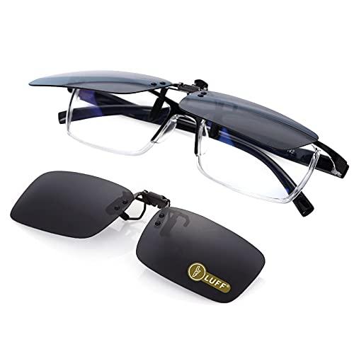 LUFF Polarisierte Unisex-Clip auf Sonnenbrille für verschreibungspflichtige Brillen-gute Clip-Stil Sonnenbrille für Myopie Brille im Freien / Fahren / Angeln (flip up style)