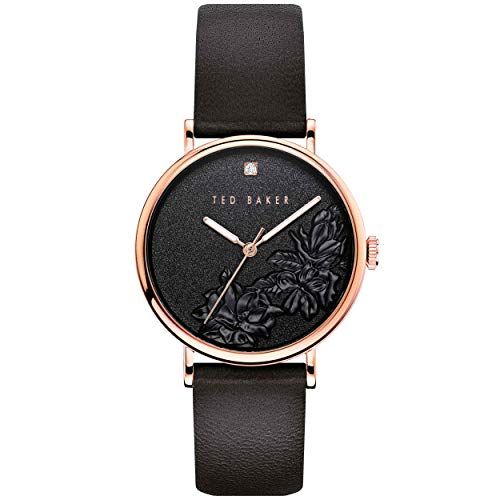 Ted Baker Watches Women's PHYLIPA Flowers Stainless Steel Quartz Watch with Leather Calfskin Strap, Black, 18 (Model: BKPPFF904)