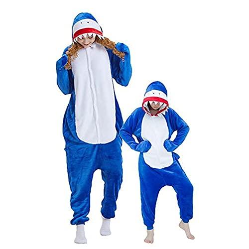 LKHJ Pijamas Enteros Pijama de tiburón para niños, Ropa de Dormir de Invierno para Adultos, para Hombres y Mujeres, Panda Stitch, para bebés y niñas-Azul_SG