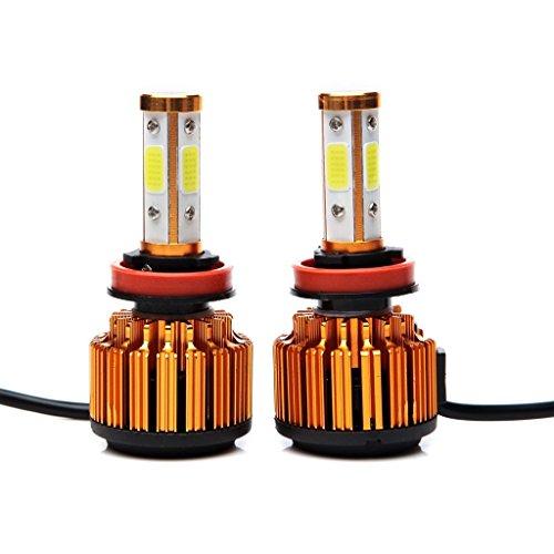 Crdz H8 H9 H11 LED Ampoules de phare 8000lm 60 W Blanc Froid 6000 K faciles à faible Faisceau/haute Faisceau/ampoule de brouillard à 360 ° 4 Côté COB Chips Super Bright Auto Kit de conversion