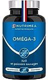 OMEGA-3 et KRILL d'Antarctique Sans Odeur - Huile de poisson pure Premium - Haute concentration en Oméga3 (EPA & DHA) - Nutrimea - Fabrication Française