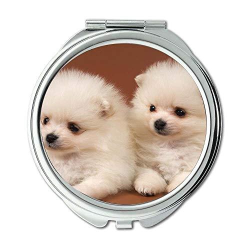 Yanteng Spiegel, Schminkspiegel, Funny Doge Baby Hund, Taschenspiegel, 1 X 2X Lupe