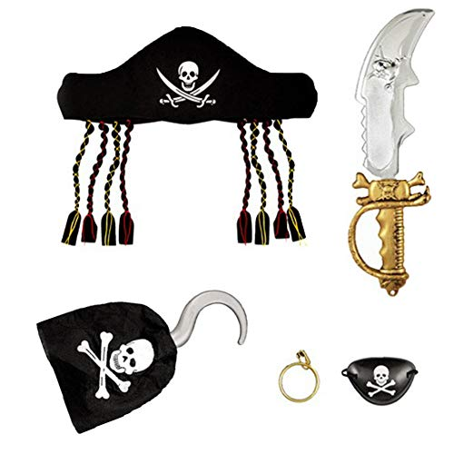Pendiente Patch Traje del pirata de Halloween Creative Set pirata de vestir Puntales Incluyendo espada del pirata del pañuelo del sombrero de los ojos y el gancho para los muchachos de los niños 5Pcs