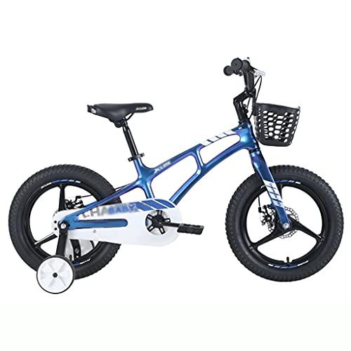 ZXQZ Bicicleta de 16 Pulgadas, Bicicleta Infantil para Niña con Estabilizadores, Marco de Aleación de Aluminio (Color : Blue)