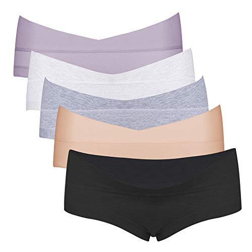 Intimate Portal Femme Petite Culottes Berceau de Maternité et Grossesse Boxer Slips sous Vetements en Coton 5 Lot Noir Gris Blanc Beige Violet 2XL