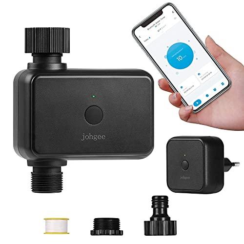 WiFi Temporizador de agua inteligente para rociadores, temporizador de riego programable, temporizador de manguera Bluetooth con retardo de lluvia para grifo de césped de jardín al aire libre