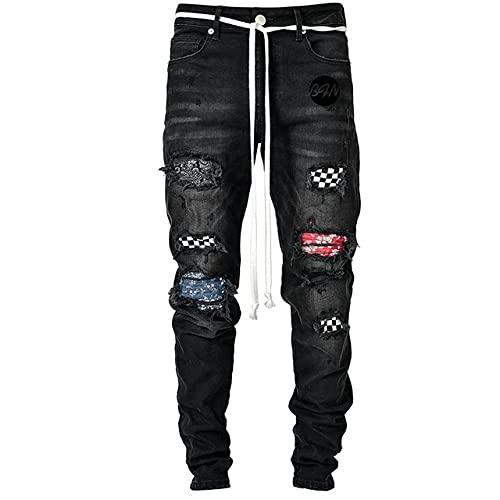 N\P Pantalones vaqueros de los hombres pantalones vaqueros casuales delgados pantalones jóvenes jogging pantalones