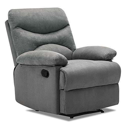 Frivity Recliner Chair, Massage Recliner Chair with Heat for Living Room, Microfiber Fabric Ergonomic Adjustable Sofa Chair Home Theater Seating Reclining Chair Lounge Sofa, Grey