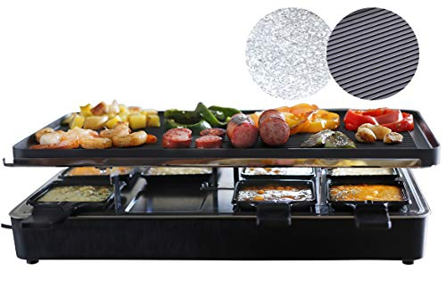 Milliard Raclette Grill for Eight People, Includes Granite Cooking Stone, Reversible Non-Stick Grilling Surface, and 8 Paddles - Great for Cheese Melting and Indoor Grilling by Get Together/Party