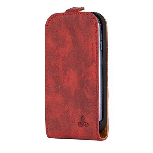 Snakehive® Samsung Galaxy S3 Mini Funda Volteable de la Colección Vintage en Cuero Nubuck con Ranuras para Tarjetas de crédito/Billetes (Borgoña)