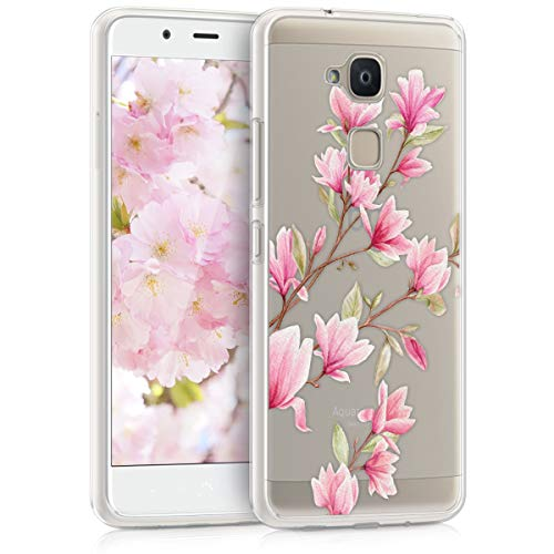 kwmobile Hülle kompatibel mit bq Aquaris V - Hülle Silikon transparent Magnolien Rosa Weiß Transparent